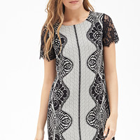LOVE 21 Lace Print Shift Dress Cream/Black