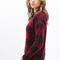 FOREVER 21 Fuzzy Plaid Sweater Burgundy/Black