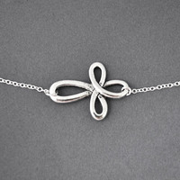 Silver infinity cross necklace, everyday Necklace, infinity cross jewelry, everlasting lover, enternity, sideway infinity cross