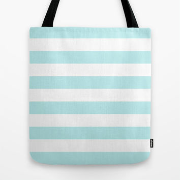 Turquoise Aqua Blue Stripe Horizontal Tote Bag by BeautifulHomes