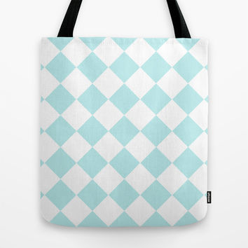Turquoise Aqua Blue Diamond Tote Bag by BeautifulHomes