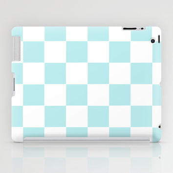 Turquoise Aqua Blue Checkers iPad Case by BeautifulHomes