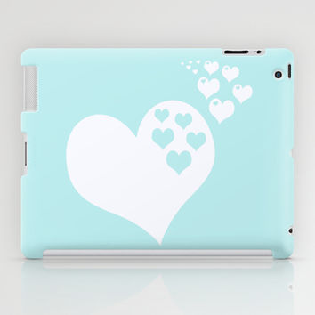 Turquoise Aqua Blue Hearts of Love iPad Case by BeautifulHomes