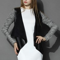 Knit Open Cardigan with Faux Leather Waterfall Black