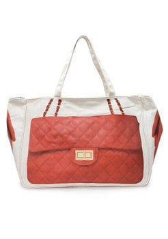 Red Quilted Canvas Bag - Furor Moda - Tops - Dresses - Jackets - VIntage