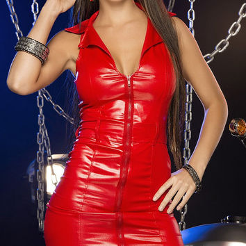 Devilishly sexy zip Vinyl Mini Dress