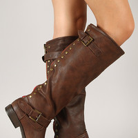 Contrast Zipper Studded Riding Knee High Boot