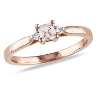 3.5mm Square-Cut Morganite and Diamond Accent Promise Ring in Rose Rhodium Plated Sterling Silver