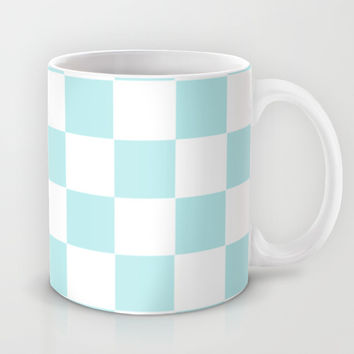 Turquoise Aqua Blue Checkers Mug by BeautifulHomes