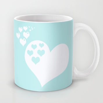 Turquoise Aqua Blue Hearts of Love Mug by BeautifulHomes