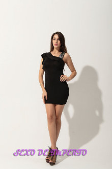Black Cocktail Dress with Strap Accent