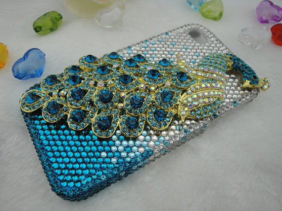 Iphone 4 Case - Swarovski Crystal Iphone Case Lovely 3D Blue Peacock Bling Crystal Case Cover For iphone 4 4G 4S Accessories
