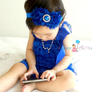 baby romper, Royal Blue Petti lace Romper, lace romper, newborn romper, baby girls outfit, Photo props, baby outfit, 4th of July outfit