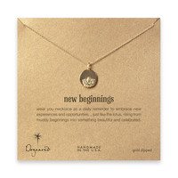 new beginnings lotus disc necklace, gold dipped - 18 inch