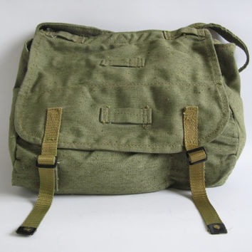 Military Canvas Bag, Vintage Army Green Messenger Bag, Canvas messenger bag,Never Used, Unused Bag,…