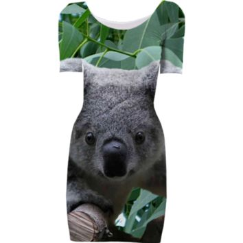 Koala Bear and Eucalyptus Bodycon Dress created by ErikaKaisersot | Print All Over Me