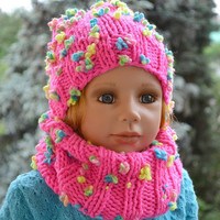 SALE 10% Childrens knitted  Hat & Scarf loop scarf Set Slouchy Hat and Infinity Scarf Cowl Scarf Fall Fashion Winter Fashion