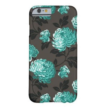Teal Floral on Brown iPhone 6 Case