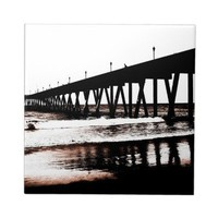 Fishing Pier in Black and White Ceramic Tiles from Zazzle.com