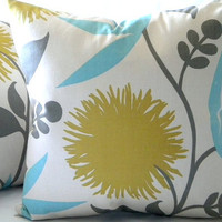 Large Decorative Dahlia Print Floral pillow cover 18 x 18