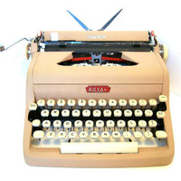 Royal Quiet Deluxe Typewriter Pinkish Tan in Original Case 1957 as Seen on ETSYLUSH