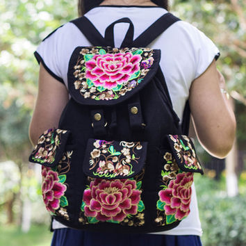 Embroidered Bags Retro Canvas Cover Backpack