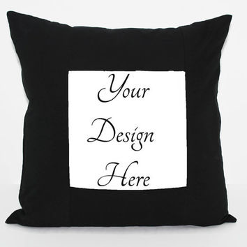 "18"" Gallery Frame Pillow Cover Black with Zipper Closure--Choose your Design"