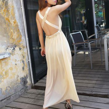 Bqueen Crisscross Back Chiffon Beige Long Dress FQ201X - Designer Shoes|Bqueenshoes.com