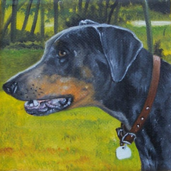 """CUSTOM ORDER Dog Portrait Oil Painting from Picture 4""""x4"""" /Pets /Birthday Gift/ Puppy/ Photo Pet Portrait /Christmas gift"""