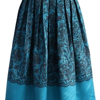Lace Fantasy Pleated Midi Skirt in Blue Multi