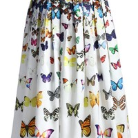 Dreamy Butterfly Pleated Midi Skirt in White Multi