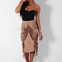 Maple Tan Brown Suede Effect Fringe Detail Skirt | Pink Boutique