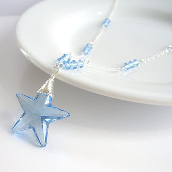 Blue Star Necklace, Blue Swarovski Necklace, Blue Crystal Necklace in Sterling Silver