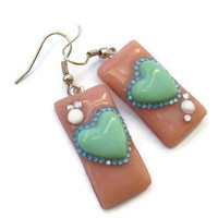 CIJ Sale 30% off - Kitsch Earrings - Mint and Peach hearts with Rhinestones