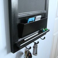 Vertical Chalkboard and Bulletin Board with Mail Slot and Key Hook Organizer