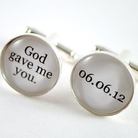 God gave me you personalized groom wedding date cufflinks - black and white cufflinks for the groom