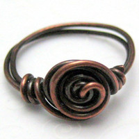 Copper Single Spiral Handmade Wire Wrapped Ring