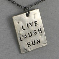 LIVE LAUGH!  Choose RUN, YOGA or LOVE - Nickel pendants with 18 inch gunmetal chain