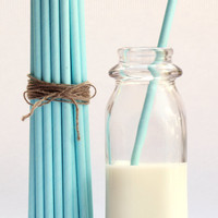 Light Blue Solid Paper Straws (Set of 25) - SmashCake Studio