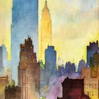 Color Me Art / watercolor of NYC Skyline by John Held Jr.
