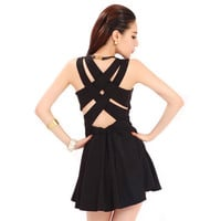 Bqueen Crisscross Back  Black Dress TD008H