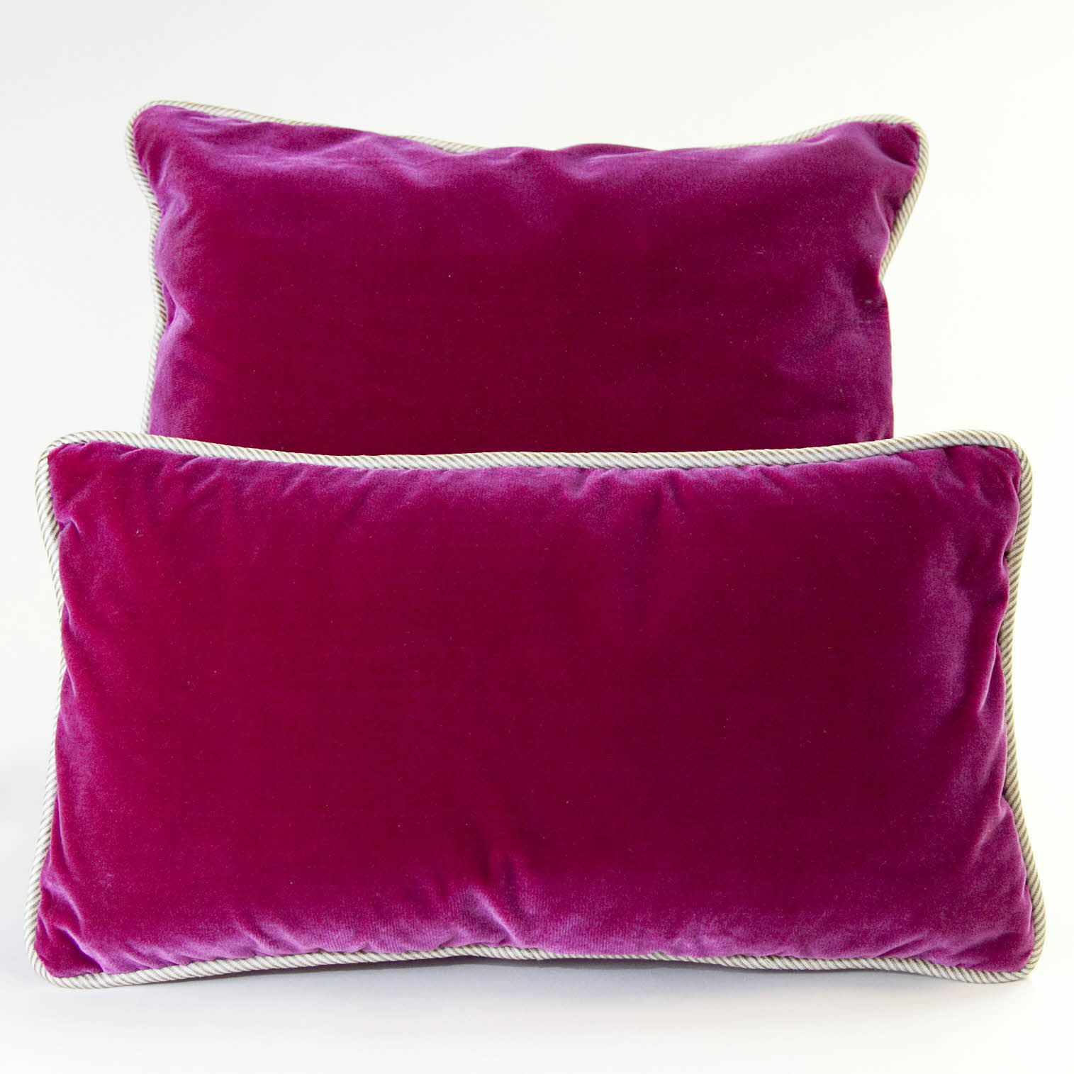 Silk Velvet Pillow, Fuschia w/ Navy/Sand from wolfhomeny.com My