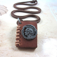 soft leather long necklace book pendant men leather long necklace, women leather necklace   PL0201