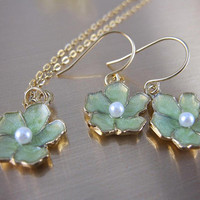 Earrings/Necklace Set--Light Green Enamel Blossom Charm