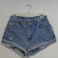 High Waisted Shorts Blue Jean Denim Gitano Vintage 90s Highwaisted Cutoffs Cut Off Size 30 12 / 13 Indie Hipster
