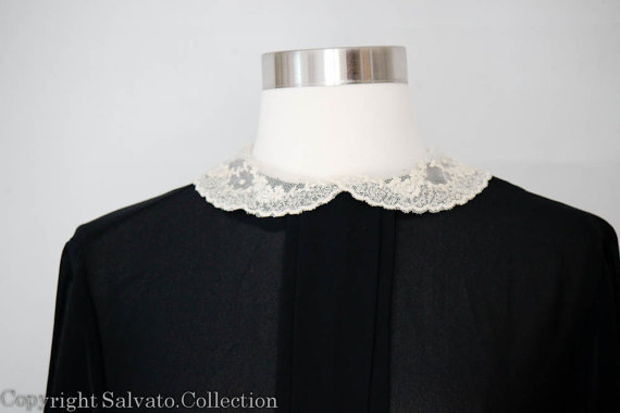 Semi Sheer Black Blouse with White Lace Collar