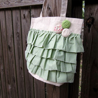 Ruffle Canvas Tote Bag- Green and White Gingham Print with Rosettes- Ready to Ship