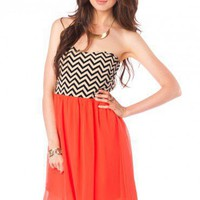 Strapless Zig Zag Sun Dress in Tangerine - ShopSosie.com