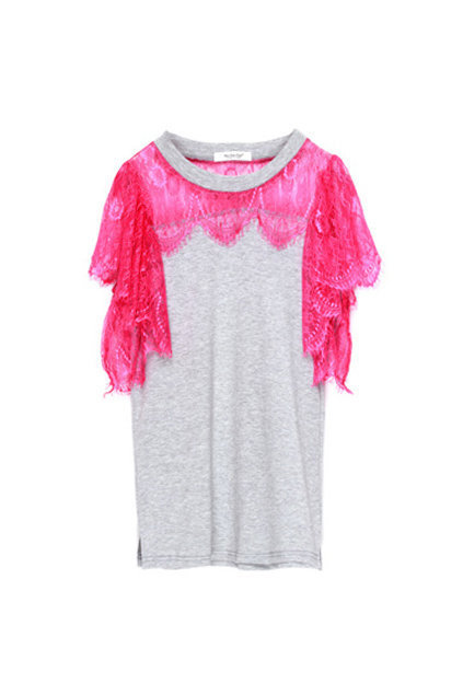 Lace Short Sleeve Rose T-shirt [NCTM0082] - $40.99 :