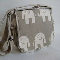 Messenger Bag Cross Body Bag in Elephant print